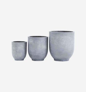 3 stk. potter i farven beton i forskellig størrelser