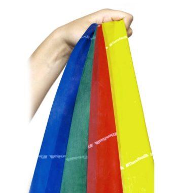 fire forskellige træningselastikker i prangende farver