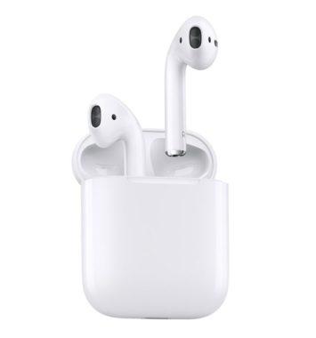 stilrene apple airpods med på hvid baggrund