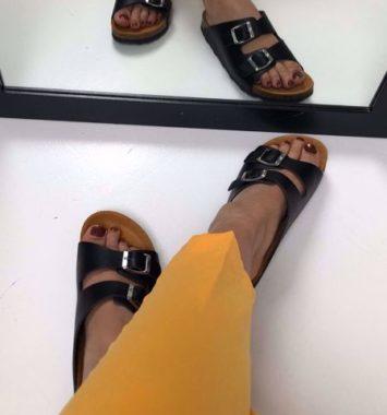Bianco Buckel Sandal Sort