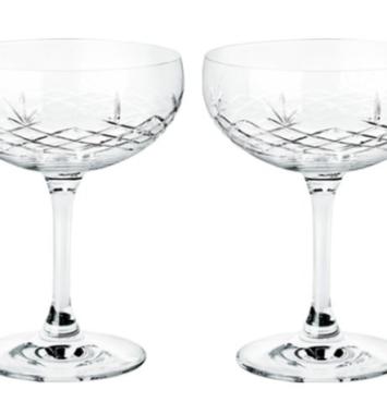 Flotte crystal champagne glas med mønstre