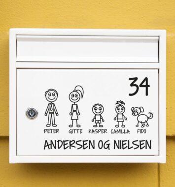Familie klistermærker på postkassen