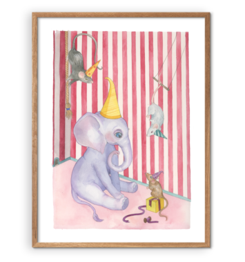 Faun & Luna - Kunsttryk - Elliefant og de tre små mus