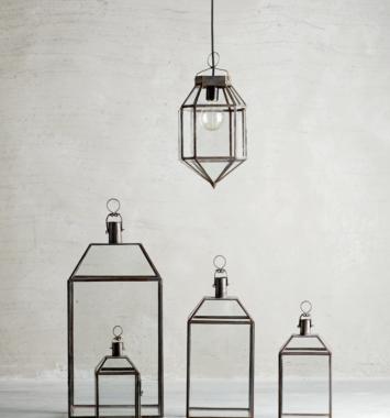 5 forskellige lanterne i forskellige størrelser