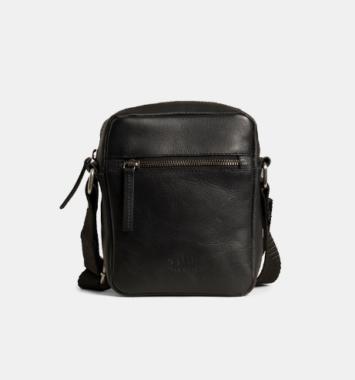 Flot håndtaske i brunt læder til mænd