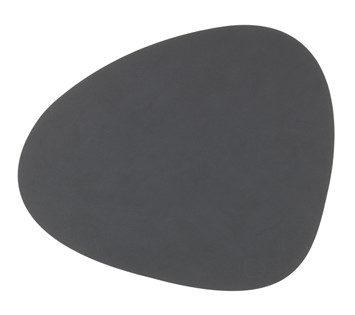 Grå oval sækkeserviet i læder