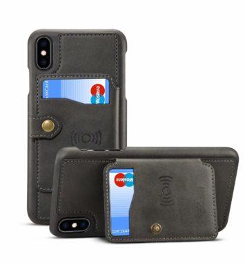 Mobilcover i brun læder inkl. kortholder