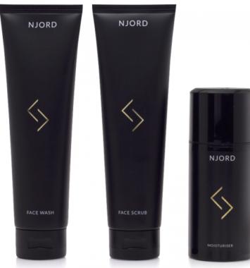 Njord ansigts sæt til mænd. Face wash, face scrub og face lotion