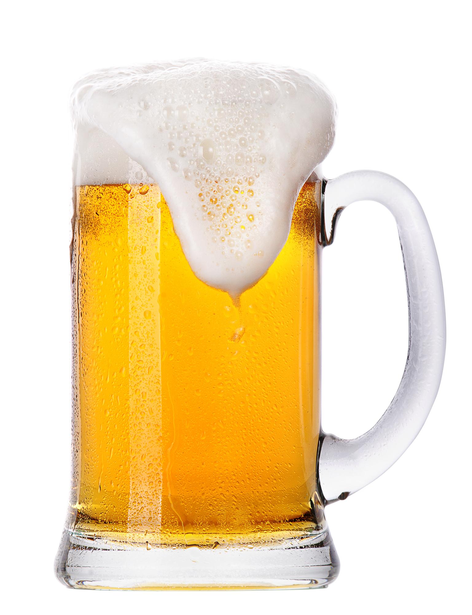 Glas med øl og skum
