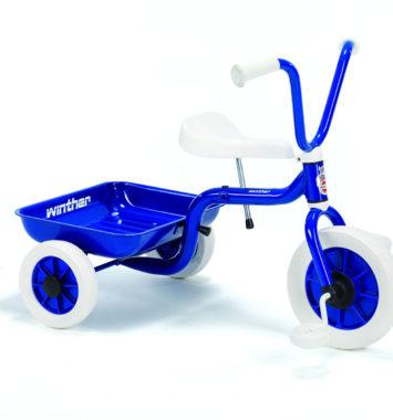 blå Trehjulet cykel fra Winther som dåbsgaver